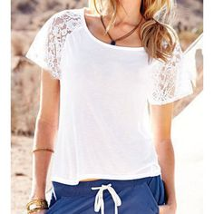 $12.58 Fashionable Scoop Neck Short Sleeve Lace Splicing T-Shirt For Women