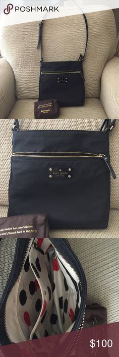 Kate Spade Small Nylon bag Beautiful gently used Kate Spade. One outside zipper pocket, one inside zipper pocket, 2 inside slit pockets. Some scuffs & pen marks inside, but bag is still in EUC, no rips or tears. kate spade Bags