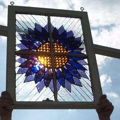 "Stained Glass Mosaic Wooden Window Repurpose ""Purple Passion"""