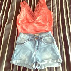 High Waisted jeans Shorts + Bebe top Bought in Russia. Worn few times, in excellent condition. Euro Sz 32, fits like a 0, 24-25, or XS Bebe Top sz Small Shorts
