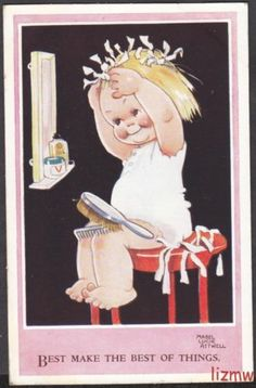 Mabel Lucie Attwell Best Make The Best of Things Girl Curls Hair Art Drawn Card | eBay