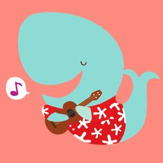 Sing whale takes up ukulele! bambiibangbang: New illustration! His name is Wilfred. He is a musically talented whale. Its a combination of my recent obsessions over whales and aloha shirts.