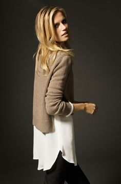 LOVE the short hi-lo sweater layered over a longer silky shirt.