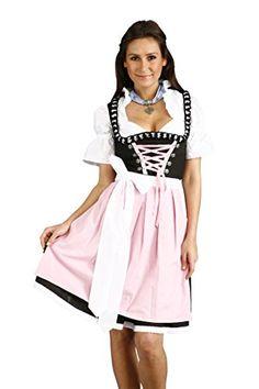 #Almandatrachten #Damen #Dirndl #Midi #Trachten #Set #Pink und #Schwarz #32…