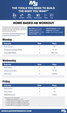 (Click through to download PDF!) This simple home based abdominal workout can be done at home with absolutely no equipment. It should only take about 20mins and can be done once every three days. #ab #workout