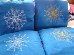 Snowflake machine embroidery design quillows.