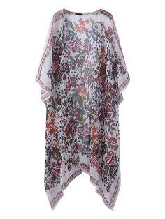 Vintage Floral Printed Chiffon Kimonos Cardigans For Women Cheap - NewChic