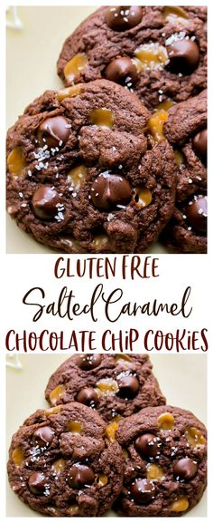 Free Salted Caramel Chocolate Chip Cookies - these homemade cookies are S., Gluten Free Salted Caramel Chocolate Chip Cookies - these homemade cookies are S., Gluten Free Salted Caramel Chocolate Chip Cookies - these homemade cookies are S. Cookies Sans Gluten, Sem Gluten Sem Lactose, Dessert Sans Gluten, Gluten Free Cookie Recipes, Gluten Free Sweets, Chocolate Gluten Free Desserts, Gluten Free Deserts Easy, Gluten Free Chips, Gluten Free Desserts
