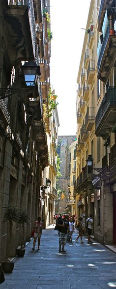 Narrow street of Barcelona, Spain