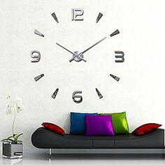 Clever!  Lance Artistic Particular Giant DIY Quartz Ornament 3D Wall Clock Trendy Design Mirror Sticker Wall Clocks Watch Hours Non-ticking House Kitchen/Dwelling Room Wall Clock -Silver