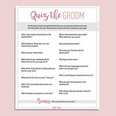Quiz The Groom - Free Digital Download - Stag & Hen