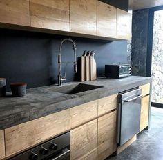 21 Modern Kitchen Ideas Every House Cook Requireme… – – cuisine moderne Home Decor Kitchen, New Kitchen, Home Kitchens, Kitchen Ideas, Apartment Kitchen, Kitchen Wood, Concrete Kitchen Countertops, Modern Kitchens, Dream Kitchens