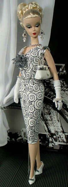 Silkstone BArbie in White black print dress