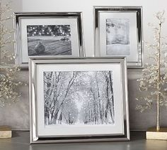 """> > > Silver-Plated White Grosgrain Ribbon Mat Frame #potterybarn -  Was $34.50 – $59 Special $27 – $47 - Size(s): 4 x 6"""", 5 x 7"""", 8 x 10"""" - Frame is made of steel with a silver-plated finish. White grosgrain ribbon archival mat. Backed with D-rings for hanging and an easel prop for tabletop display. 4x6"""" and 5x7"""" displays horizontally. 8x10"""" displays vertically. - 7.5"""" W x 9.5"""" H; holds a 4 x 6"""" photo - 8.5"""" W x 10.5"""" H; holds a 5 x 7"""" photo - 11.5"""" W x 13.5"""" H; holds a 8 x 10"""" photo"""