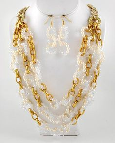 Linked beads and golden chain long gorgeous necklace from miss diza.