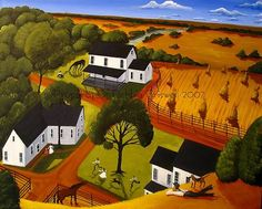 12x16 Print Folk Art Primitive Landscape Birds Eye View Dog Horse Farm Hay | eBay