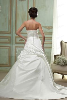 A Line Silver Embroidering Strapless Wedding Dress
