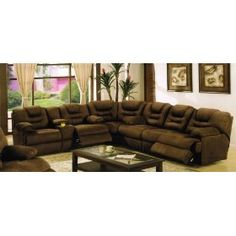 Sectional Recliner Sofa with Cup Holders in Chocolate Microfiber $1775.56