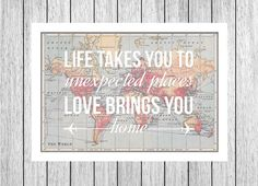 World Map Poster, World Map Print, Love Quote, Map of the World, Travel Wedding, Leaving Gift, Wanderlust, Travel, Home Quote, World Map