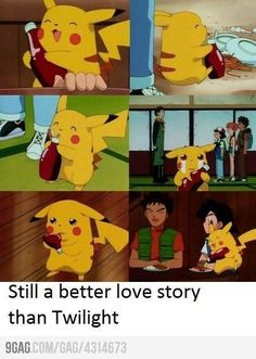 Pikachu and ketchup. Still a better love story than Twilight