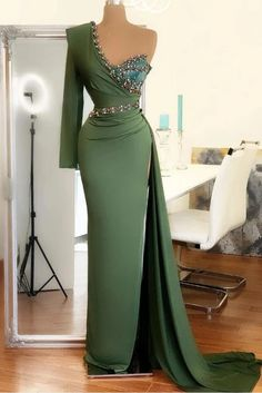 Chic One Shoulder Mermaid Evening Gown Green Party Dress – Ballbella Sparkly Prom Dresses, Elegant Prom Dresses, Prom Dresses Long With Sleeves, Prom Dresses For Sale, Long Dresses, Formal Dresses, Wedding Dresses, Mermaid Evening Gown, Evening Dresses