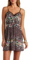 Caged Cut-Out Floral Print Dress