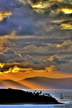 Sunset, Hamilton Island; Queensland; Australia. Ocean view, water, panorama, clouds, ship, landscape, amazing, photo.