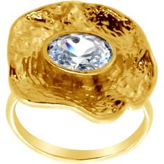 USA Belcho Wrinkled Flower with Oval CZ Ring (7), Women's, Gold