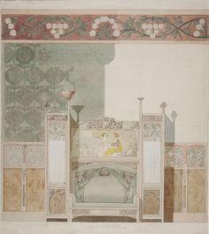 GASPAR HOMAR Art Nouveau Interior, Art Nouveau Furniture, Art Nouveau Architecture, Art Nouveau Design, Art Nouveau Illustration, Jugendstil Design, Flower Ornaments, Interior Rendering, Illustrations