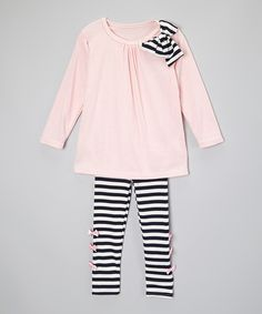 Mommy's Little Peanut Pink & Black Stripe Bow Tunic & Leggings - Toddler & Girls by Mommy's Little Peanut #zulily #zulilyfinds