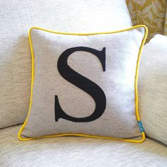 piped edge initial cushion by kate sproston design | notonthehighstreet.com