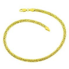 14 Karat Yellow Gold 3.4-mm Byzantine Anklet (9 Inch) Kooljewelry. $240.99. This yellow gold anklet makes a great gift idea for any occasion. Comes with a comfortable lobster claw closure. Crafted in yellow gold. Weighs 3.4 gram(s)