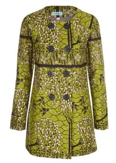 The Blossom Collection: Green Birds Double Breasted Coat. Sika Design. ~Latest African Fashion, African women dresses, African Prints, African clothing jackets, skirts, short dresses, African men's fashion, children's fashion, African bags, African shoes ~DK