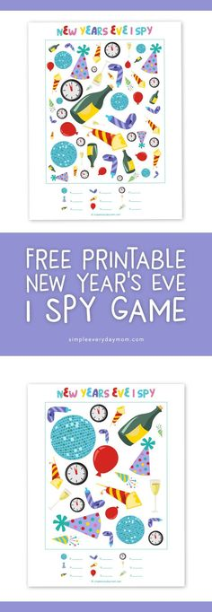 Free printable New Year's Eve I Spy | Celebrate the new year with your kids with these fun ispy printables #newyearseve #ispy #printablesforkids #simpleeverydaymom