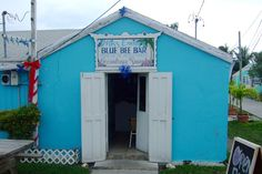 The famous Blue Bee Bar on Green Turtle Cay in the Abacos, Bahamas - careful if you get the gallon jug to go!  Randy and I drank here a couple of times!!