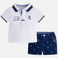 Conjunto niño polo y pantalón corto estampado Toddler Boy Outfits, Kids Outfits, Designer Baby Boy Clothes, Kids Zone, Baby Kids, Kids Fashion, Mens Tops, Navy, Disney