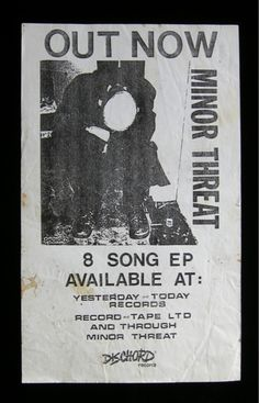 minor threat flyer for their first Vintage Concert Posters, Music Posters, Minor Threat, One 7, Pearl Jam, Artwork Design, Vinyl Records, Photo Art, Songs