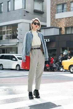 mock neck crop top, denim jacket, striped pants