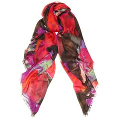 Christopher Kane Floral-print modal and cashmere-blend scarf ($520) ❤ liked on Polyvore