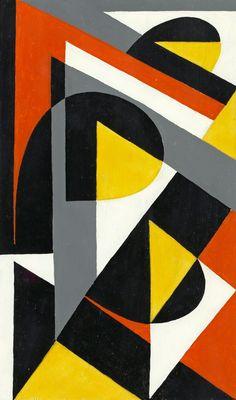 """LARS-GUNNAR NORDSTRÖM, """"GUL OCH GRÅ BYTER PLATS"""". Signerad L G Nordström och daterad 1957 a tergo. Pannå 13,5 x 23 cm."""