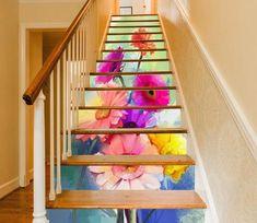 Stair Risers Murals & Decals - U. Wallpaper Paste, Paper Wallpaper, Self Adhesive Wallpaper, Custom Wallpaper, Painting Patterns, Tile Patterns, Decoration Photo, Marble Stairs, Vinyl Doors