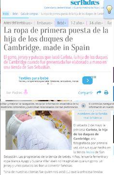 """Irulea Moda infantil y lencería femenina. Ser padres. """"La ropa de primera puesta de la hija de los duques de Cambridge, made in Spain El gorro, jersey y patucos que lució Carlota,   fue elaborado a mano en una tienda de San Sebastián.""""  #irulea #donostia #sansebastian #princesscharlotte #newroyalbaby #bayfashion #modainfantil #lenceria #ropaniños #princesacarlota Ropadebebe #HechoaMano #LenceriaMujer #VestidosdeComunion #Bebé #PrimeraComunion #RopaParaelHogar #ComercioDonostia #TextilHogar"""
