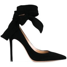 Gianvito Rossi Black Decolletè (€335) ❤ liked on Polyvore featuring shoes, pumps, heels, black pointed toe pumps, black stiletto pumps, black heel pumps, high heel stilettos and black bow pumps
