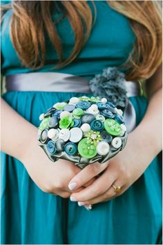 Teal, Lime, Grey #Button Bouquet