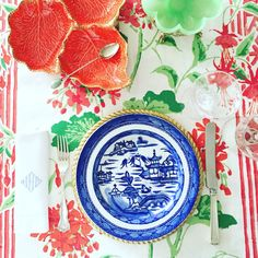 Blue, white, and green vintage table setting