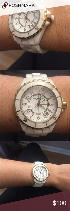 Akribos ceramic watch Gorgeous rose gold and white ceramic make this a stunning time piece. Read about akribos online, so many amazing details on this watch. Water proof and amazing battery. Akribos XXIV Accessories Watches