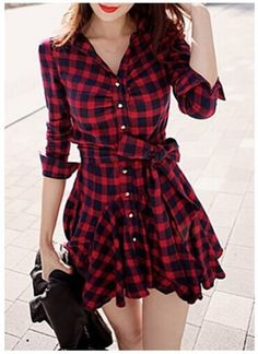 Cheap Dresses, Buy Directly from China Suppliers: Women Retro Long Sleeve Dress Red Plaid Lapel V Neck Shirt Dress Belted Dress Brand New and High Q Cheap Dresses, Cute Dresses, Casual Dresses, Short Dresses, Floral Dresses, Maxi Dresses, Vintage Dresses, Dress Long, Party Dresses