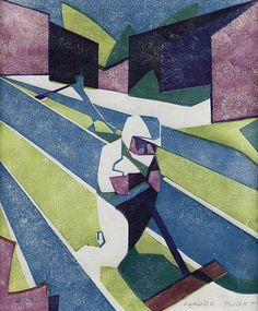 Claude Flight (British, Lawn Mowing Linocut printed in cobalt blue, olive green and light purple, on thin white oriental laid paper, Angie Lewin, Francis Picabia, Georges Braque, Linoprint, Print Artist, Cubism, Linocut Prints, Graphic Design Typography, Modernism