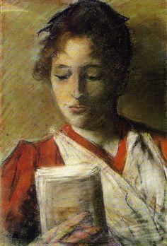Leitora Giovanni Fattori (Itália, 1825-1908) óleo pastel