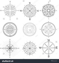 Vector set illustration of abstract artistic drawings compass for area map.